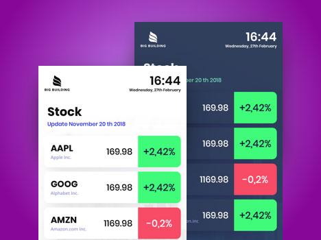 digital signage stock exchange