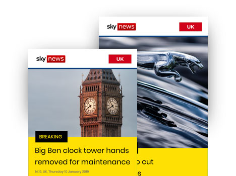digital signage news feed sky
