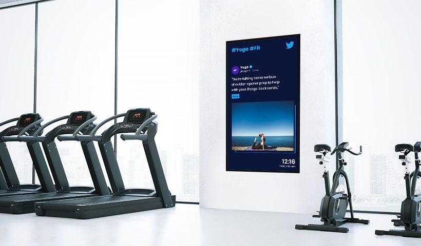 digital signage social twitter gym
